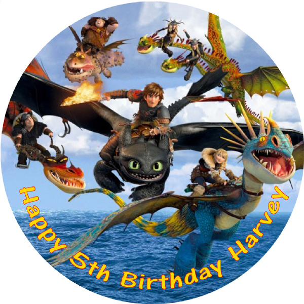 HOW TO TRAIN YOUR DRAGON EDIBLE ROUND CAKE TOPPER